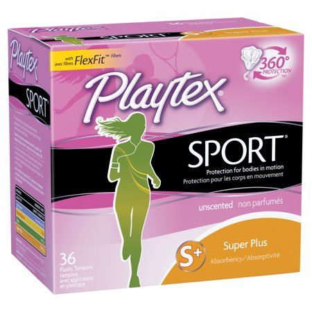 Playtex Sport Plastic Tampons, Unscented, Super Plus, 36 Ct (Playtex Tampons 36 Count)