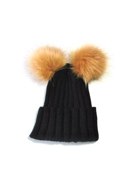 Outtop Double Ball Child Kids Toddler Winter Beanie Hat Cap Wool Knit Fur BK