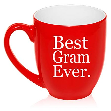 16 oz Large Bistro Mug Ceramic Coffee Tea Glass Cup Best Gram Ever Grammy Grandma Grandmother
