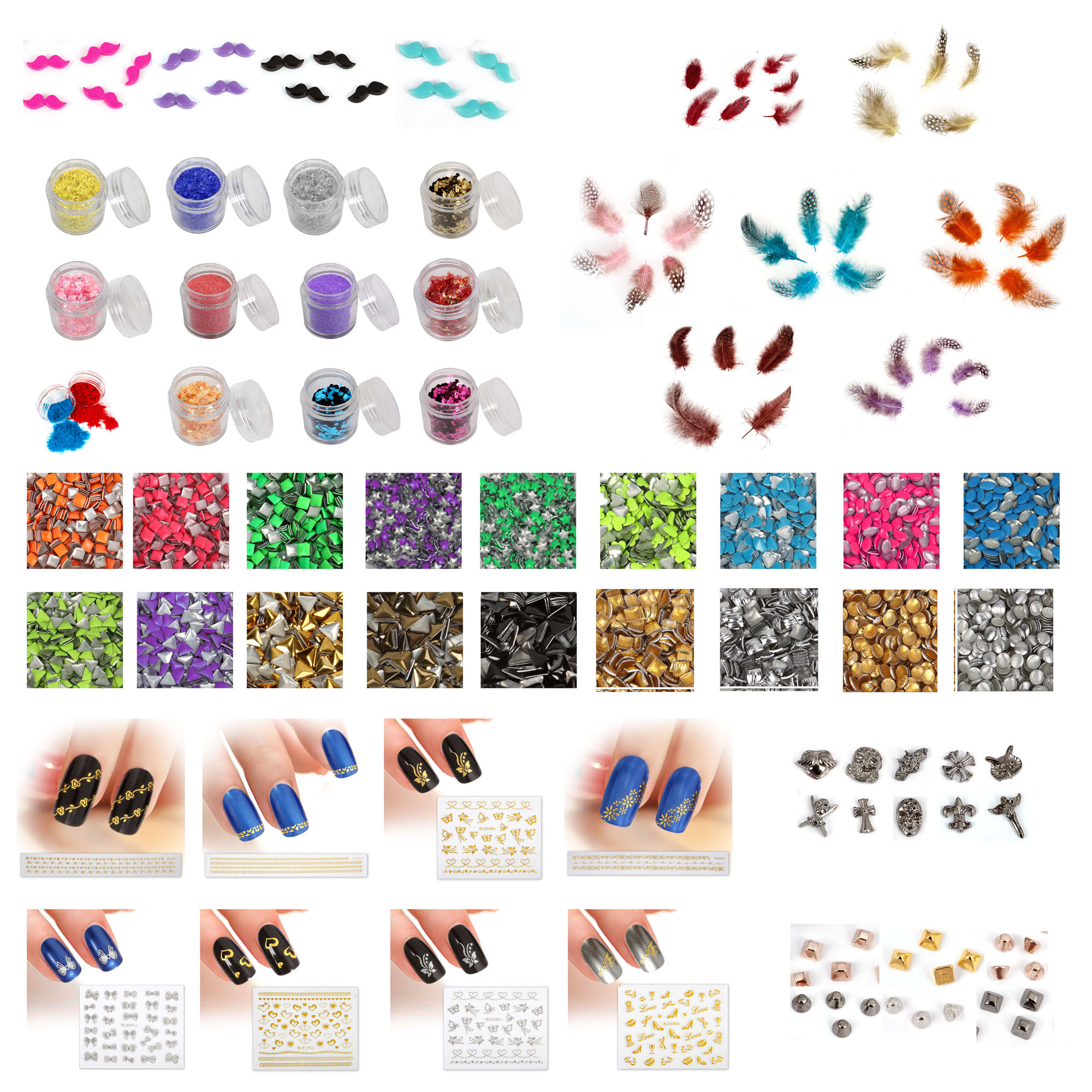 BMC Mystery Surprise 15 Mix Types Nail Art Glitters Stickers Cabochons Studs Kit