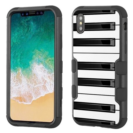For Apple iphone XS / X Case, OneToughShield ® 3-Layer ShockProof Hybrid Protective Phone Case Cover (Black/Black) - Piano Design