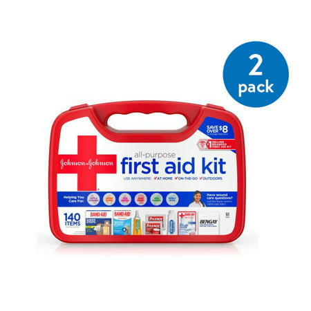 (2 Pack) Johnson & Johnson All-Purpose Portable First Aid Kit, 140 pc