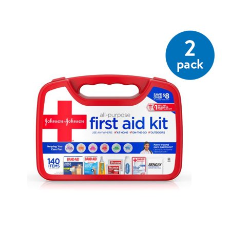 (2 Pack) Johnson & Johnson All-Purpose Portable First Aid Kit, 140 - Make First Aid Box