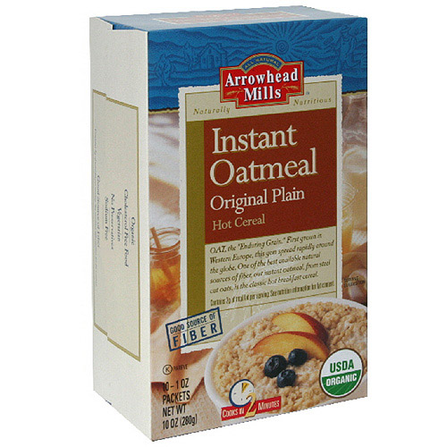 Arrowhead Mills Instant Original Plain Oatmeal Hot Cereal, 10 oz (Pack of 12)