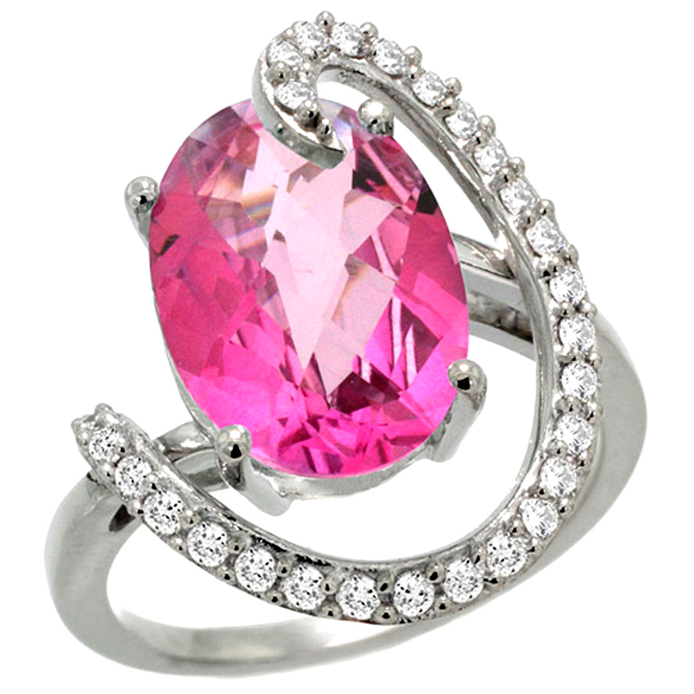 14k White Gold Natural Pink Topaz Ring Oval 14x10 Diamond Accent, 3 4inch wide, size 5.5 by Gabriella Gold