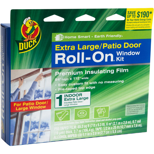Duck Brand Roll-On Window Kit, Indoor, Extra Large Patio Door
