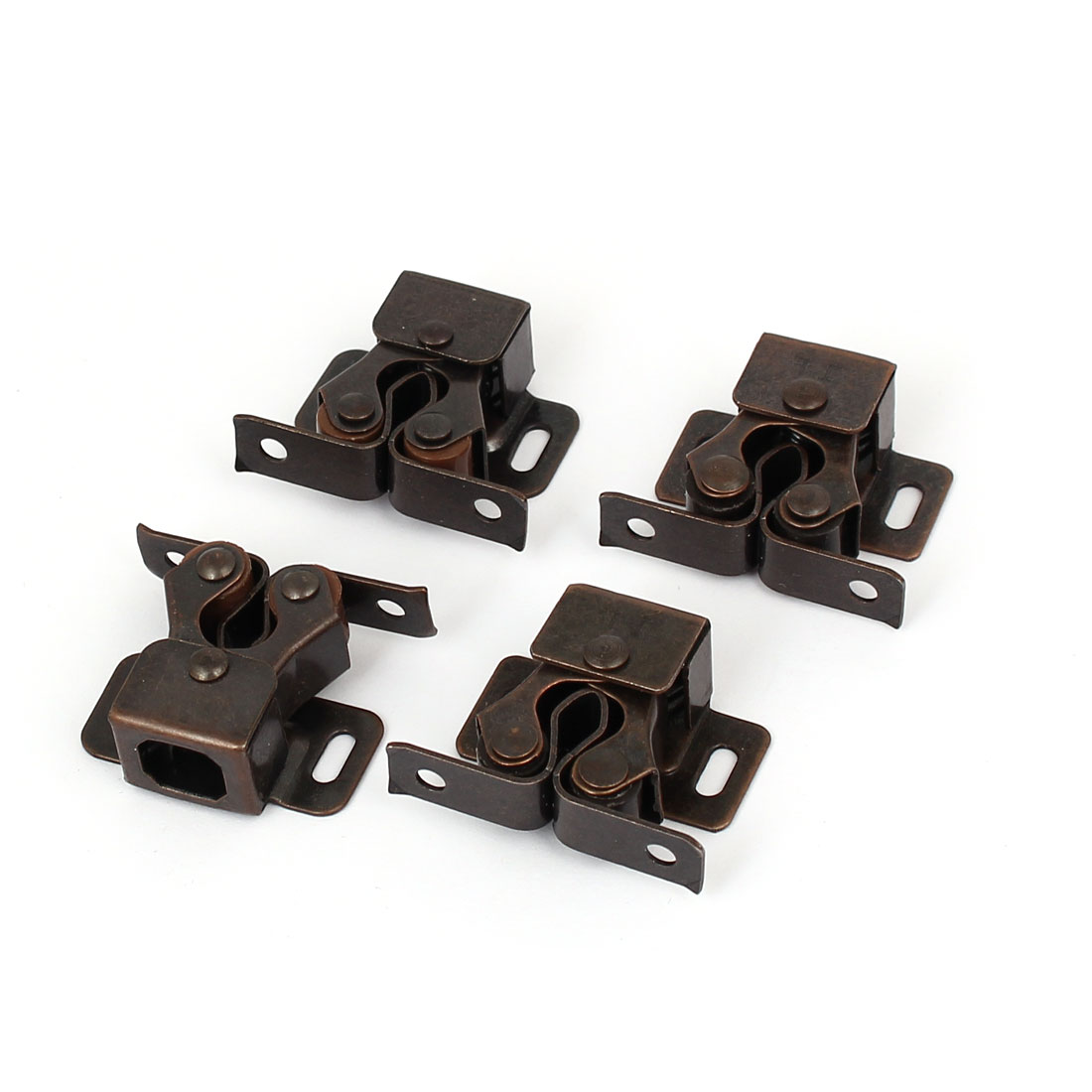 Cupboard Closet Cabinet Door Double Ball Roller Catch Latch Brown 4pcs