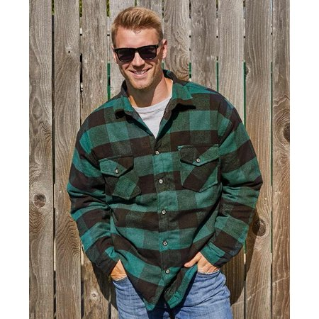 Mens Green Quilt Lined Flannel Jacket - ()