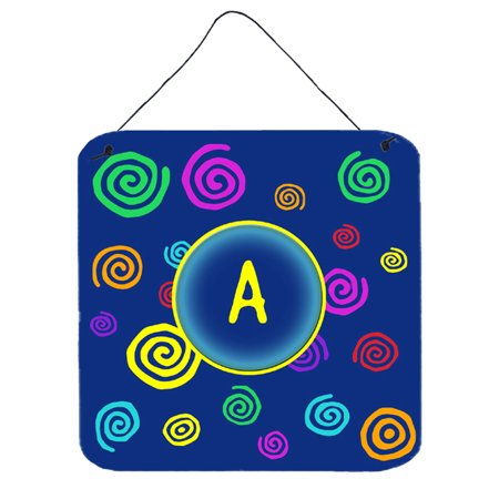 Letter A Initial Monogram - Blue Swirls Wall or Door Hanging (Swirl Letter)