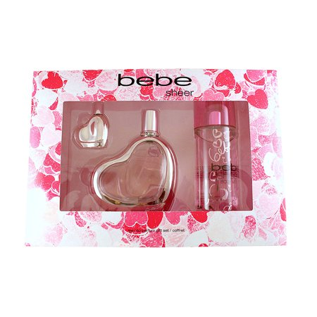 Bebe Sheer 3 Pc Gift Set ( Eau De Parfum Spray 3.4 Oz + Eau De Parfum Miniature 0.33 Oz. + Body Mist Spray 8.4 Oz. ) for Women by Bebe ()