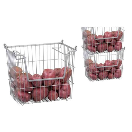 Home Basics Large Stainless Steel Stackable Basket