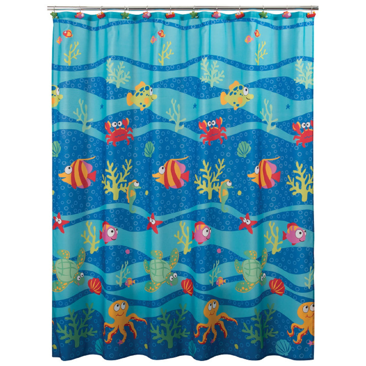 Fish Tails Polyester Printed Fabric Shower Curtain By Allure Home Creation 70 X 72 Walmart Com Walmart Com