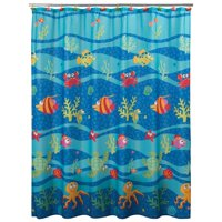 """Fish Tails Polyester Printed Fabric Shower Curtain by Allure Home Creation, 70"""" x 72"""""""