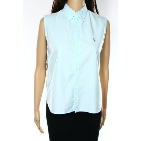 Ralph lauren sport new light blue womens size 6 button for Womens button up polo shirts