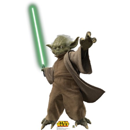 Advanced Graphics Yoda with Lightsaber--Episode III Cardboard Cutout Life Size Standup - Basketball Cardboard Cutouts