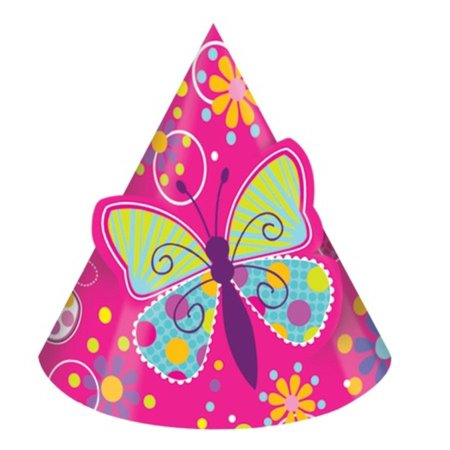 Club Pack of 96 Hot Pink Butterfly Sparkle Pop-Out Paper Birthday Party Hats