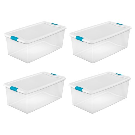 Sterilite 106-Qt. Clear Stackable Latching Storage Box Container, 4 Pack | 1499 (Stackable Containers)