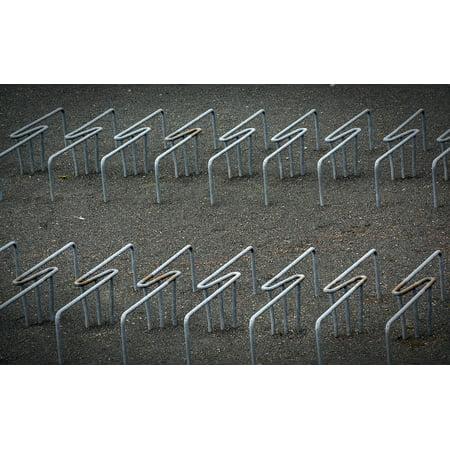 canvas print bike racks modern iron sculpture stretched canvas 10 x 14 ()