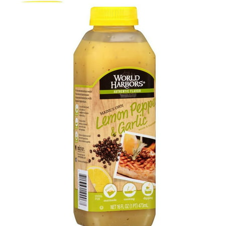 World Harbors Maine's Own Lemon Pepper & Garlic Sauce & Marinade 16 Oz Squeeze (Pack of 6)