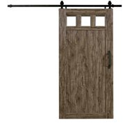 """Spectrum Millbrooke PVC Barn Door with PVC Window Size 42""""wide x 84""""high - Kit *Requires Assembly* Weathered Grey Color"""