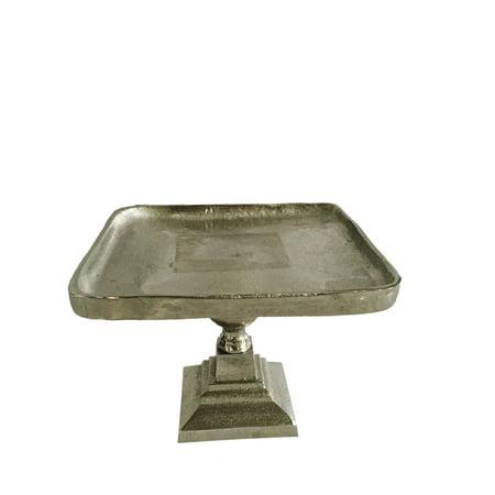 Silver Plated Pedestal - A&B Home Vivi Square Pedestal, Small-Color:Silver,Style:Classic Vintage
