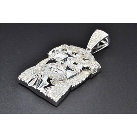 "10K White Gold Real Diamond Jesus Face Pendant Piece 2"" Mens Pave Charm 1.60 CT."
