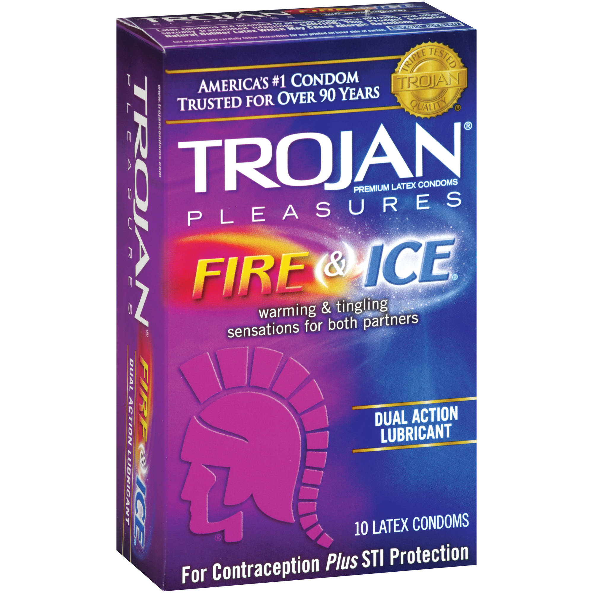 Trojan Pleasures Fire & Ice Premium Latex Condoms, 10 count