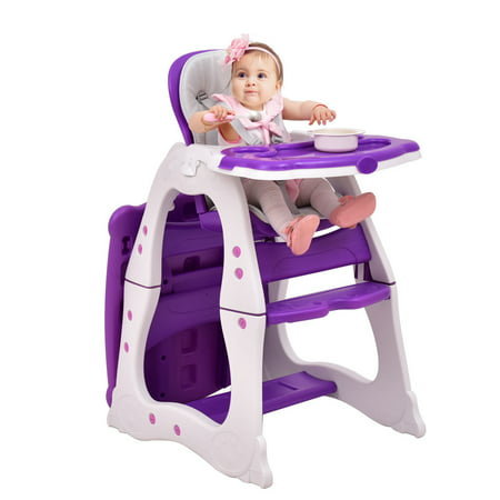 3 in 1 Baby High Chair Convertible Play Table Seat Booster Toddler Feeding Tray (2 In 1 High Chair And Table)