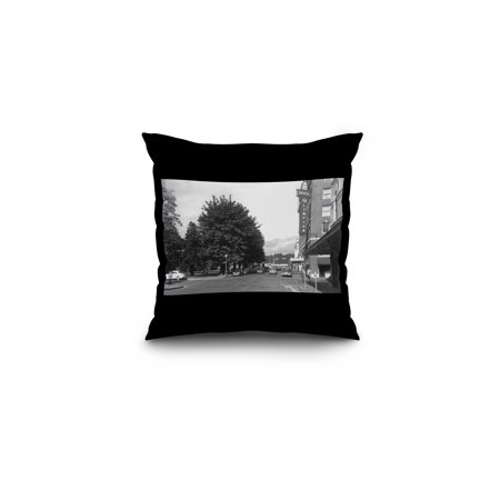 Olympia  Washington   View Of Capitol Park  6Th  Exterior View Of Hotel Olympian  16X16 Spun Polyester Pillow  Black Border