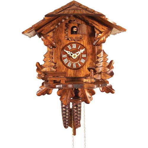 Mountain Cottage and Evergreen Trees Cuckoo Clock by Alexander Taron
