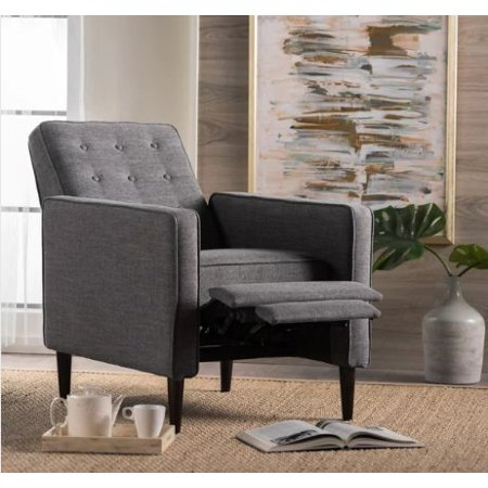 (ModHaus Living Mid Century Modern Fabric Upholstered Button Tufted Recliner Club Chair with Solid Wood Legs in Dark Espresso Finish - Includes Pen (Grey))