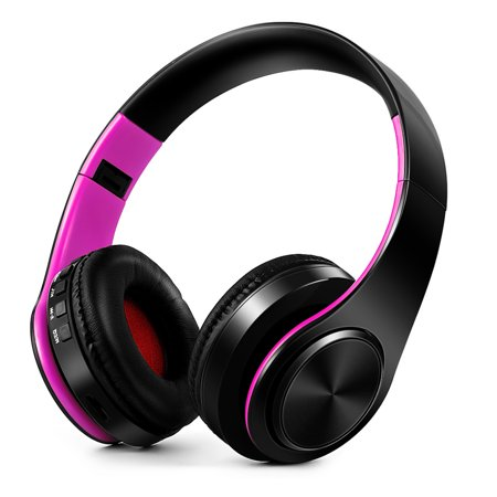 Wireless Bluetooth Headphones Stereo Bluetooth 4.0 Headsets MP3 Player TF Card FM Radio 3.5mm Wired Earphone Hands-free w/ Mic Purple for iPhone 6S 6S Plus Samsung S6 S5 Note 6 5 Laptop