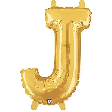 Letter J Gold Megaloon Junior Balloon - J Balloon