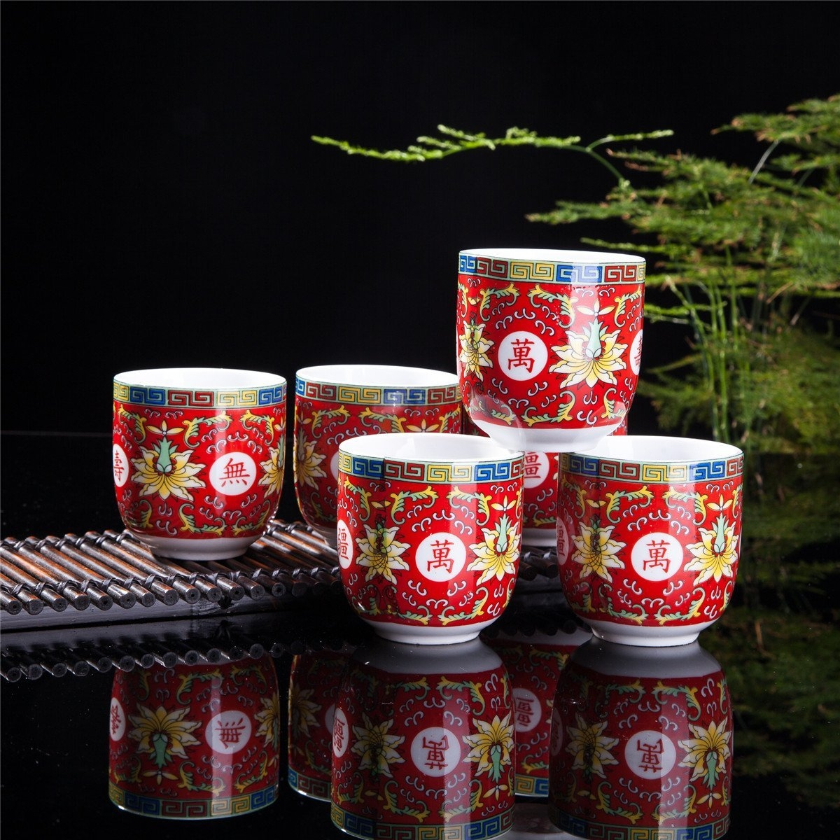 Set Of 6 Eastern Asian Design Ceramic Tea Cups In Red Longevity Symbol - 8 OZ Capacity Each
