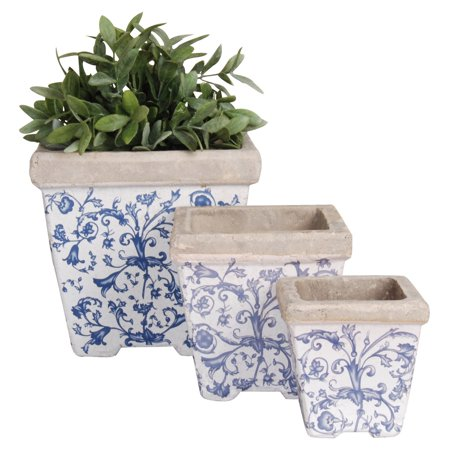 Square Port (Esschert Design Aged Ceramic Square Nesting Pots - Set of 3)