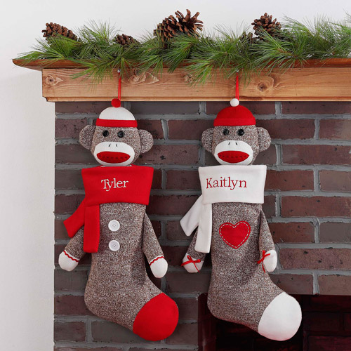 Personalized Sock Monkey Christmas Stocking, Available with Red or White Cuff