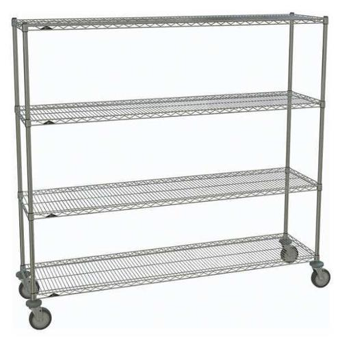 METRO 1872NC-4,63UP-4,5MP-4 Wire Cart,Chrome,69in.H x 18in.W,Silver G2418011