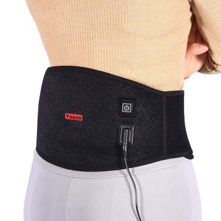 Knifun Electric Heating Back Brace with Electric Warmer Pad, Wasit Band Lumbar Wrap for Lower Back Arthritis, Abdominal Menstrual Cramps, Strains, Spine Pain Relief, Heat Therapy for Men &