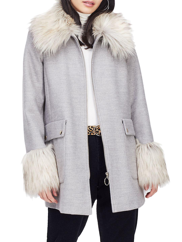 Faux Fur Swing Duffle Coat