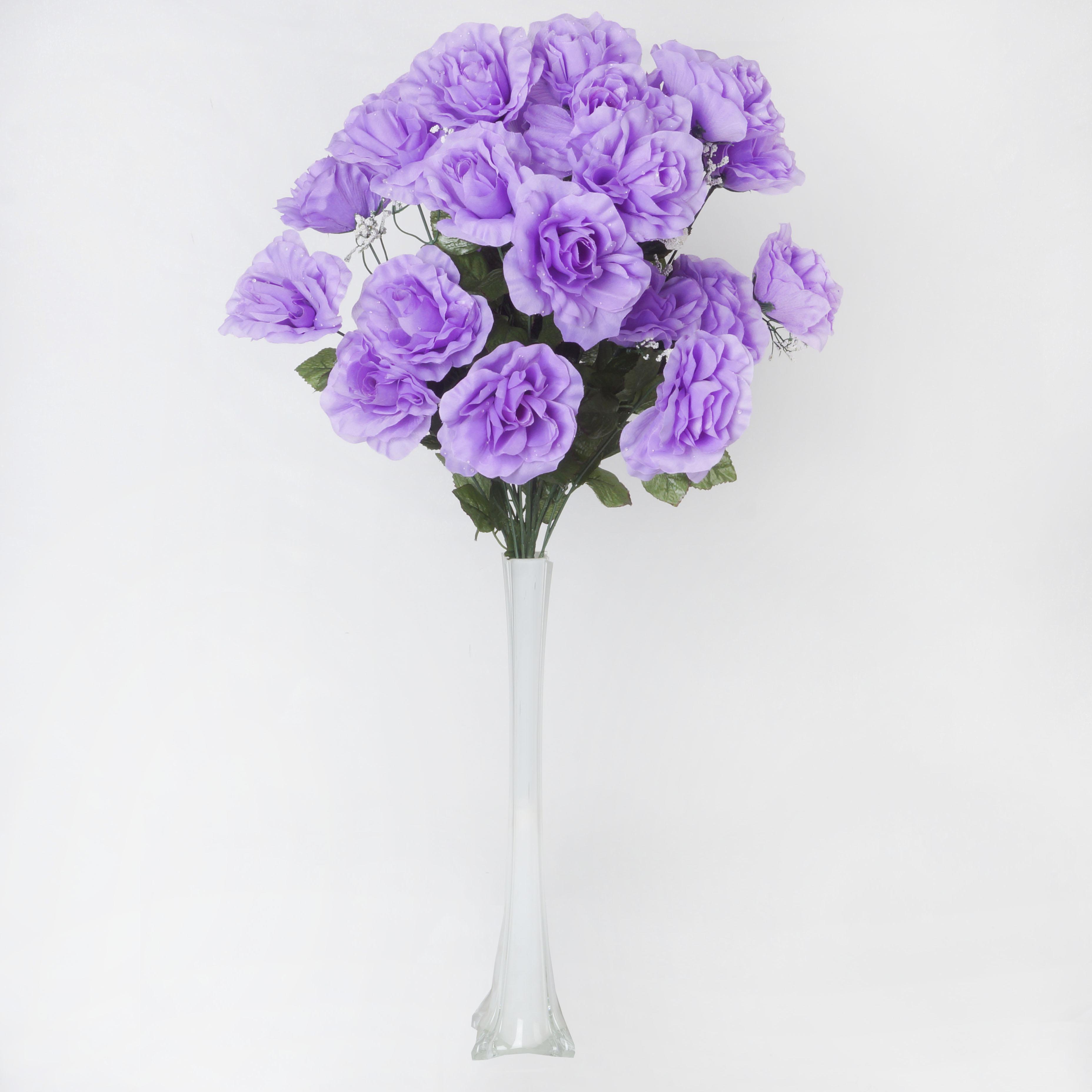 Efavormart 96 GIANT OPEN ROSE Bush Artificial Flowers for DIY Wedding Bouquets Centerpieces Arrangements Wholesale - 18 colors