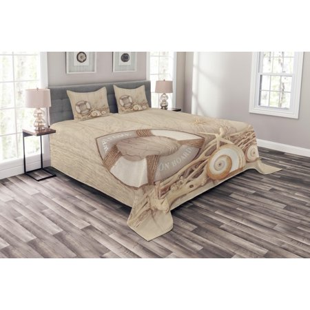 Coastal Bedspread Set, Welcome On Board Life Buoy Wooden Sepia Fishnet Holiday Maritime Theme Print, Decorative Quilted Coverlet Set with Pillow Shams Included, Tan Beige White, by Ambesonne ()