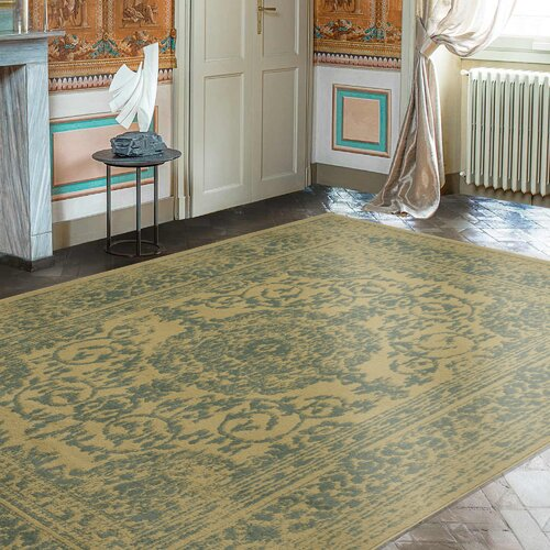 Charlton Home Lamberth Distressed Medallion Green/Yellow Area Rug