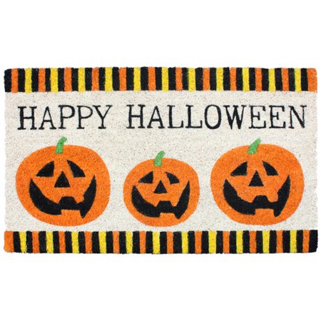 J and M Home Fashions Halloween 3 Pumpkins Doormat - Double Door Halloween
