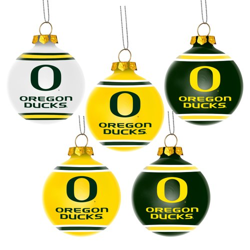 Forever Collectibles NCAA 5-Pack Shatterproof Ball Ornaments, Oregon Ducks