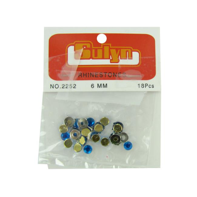 18 pc 6mm blue rhinestones with mounts - Pack of 72