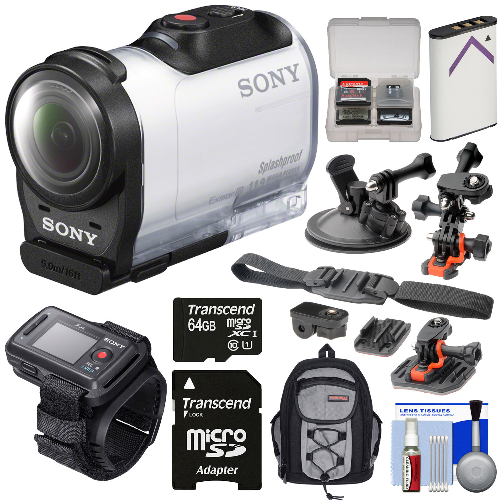 Sony Action Cam HDR-AZ1 Mini HD Video Camera Camcorder & Live View Remote with 64GB Card + Battery + 2 Helmet, Flat Surface & Suction Cup Mounts + Backpack Kit Action Cam