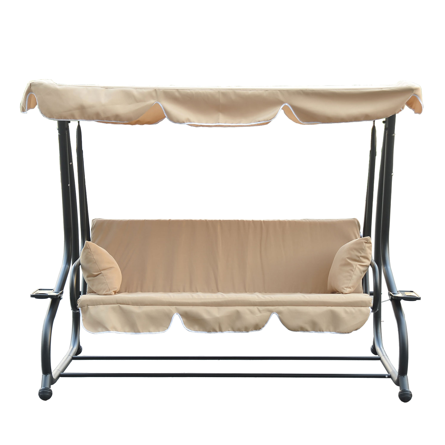 Outsunny Covered Outdoor Porch Swing / Bed with Frame - Sand