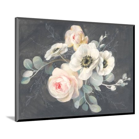 Wood Mounted Print (Roses and Anemones Wood Mounted Print Wall Art By Danhui Nai )