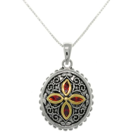Sterling Silver Bali Flower Medallion Necklace