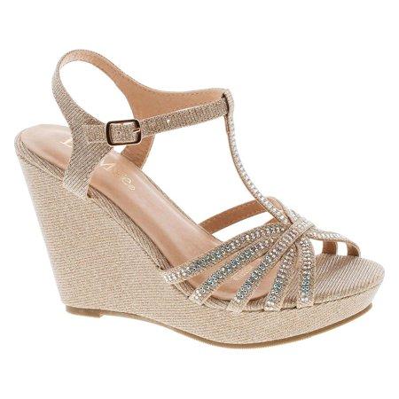 Bella Marie Womens Broadway-20 Metallic Glitter Dress Wedge Sandals